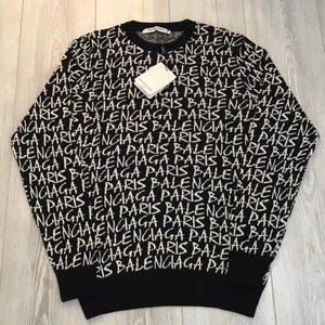 Balenciaga Men Black Sweaters Large